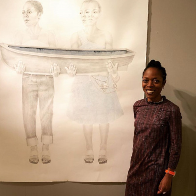 Charmaine Watkiss with her drawing in the Trinity Buoy Wharf Drawing Prize 2019 exhibition at The Salisbury Museum